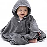 Mabyen Baby Poncho - Babybademantel Kapuzenbademantel Badehandtuch 100% Baumwolle Grau & Hellgrau...