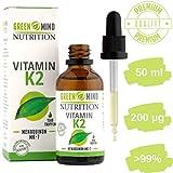 Vitamin K2 MK7 1.500 Tropfen (200µg pro Portion) in 50ml Flasche. MCT-Öl auf Kokosbasis,...