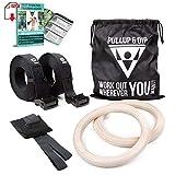 PULLUP & DIP Premium Turnringe Holz Gym Rings Gymnastikringe Gym Ringe Turnerringe für Calisthenics...
